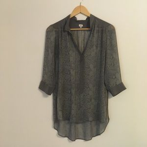 Wilfred sheer snake print tunic in greys and blues